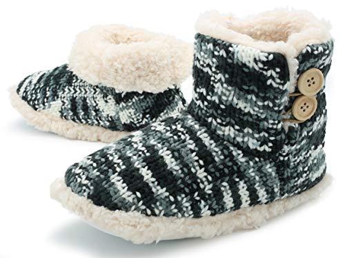 Pantofola a stivaletto donna inverno pantofole invernali a maglia velluto cane scottish terrier (5-6 (euro 38-39), maglia grigia e bianca)
