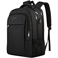 MATEIN Business Laptop Backpack, Slim Travel Computer Rucksack with USB Charging Port, Professional Water Resistant College School Daypack For Women and Men, Fits 15.6 Inch Laptop and Notebook-Black