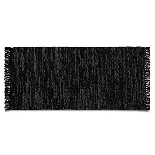 Lederteppich Windsor | handgewebter Teppich aus Recycling Leder | viele Größen | schwarz | 70x140 cm Gewebte Leder-teppich
