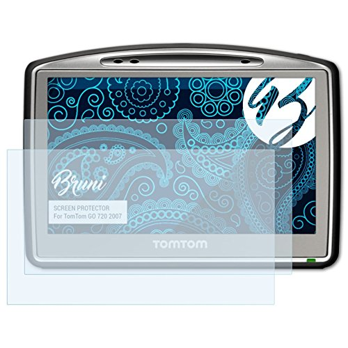 Bruni Schutzfolie kompatibel mit Tomtom GO 720 2007 Folie, glasklare Displayschutzfolie (2X) -