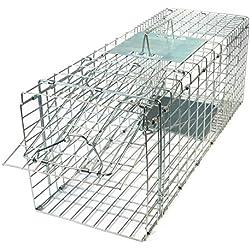 Gardigo Jaula Trasportín Plegable de Metal para Mascota, Trampa de Captura de Animales Vivos Gatos Perros Conejos Roedores, 66 x 23 x 26 cm