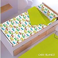 Saco nórdico CON relleno CARS BLANCO-3 para cama 90 x 190/200 + 1 funda de almohada. Saco unido a la bajera con cremallera. Con relleno nórdico.