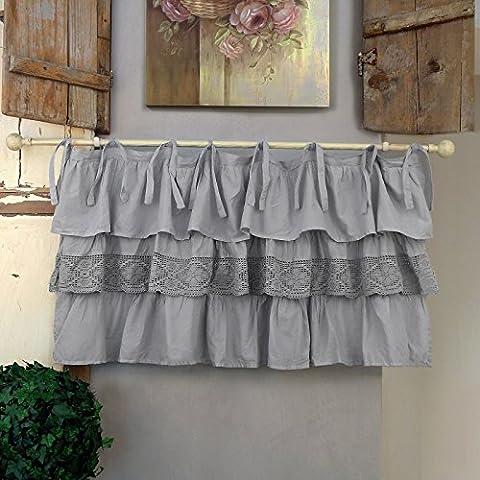 Vorhang Gardine Scheibengardine Bistrogardine mit drei Rüschen Landhaus Shabby Chic - Rüsche Volant / Häkelspitze - 130x60 - Grau - 100% Baumwoll