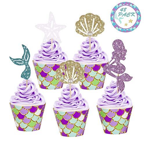 Youth Union Meerjungfrau Kuchendekoration Glitter Cupcake Toppers und Wrappers Verpackung für Kinder Party Kuchen Dekoration Geburtstag Party Deko(48 Stück) - Geburtstag Cupcake