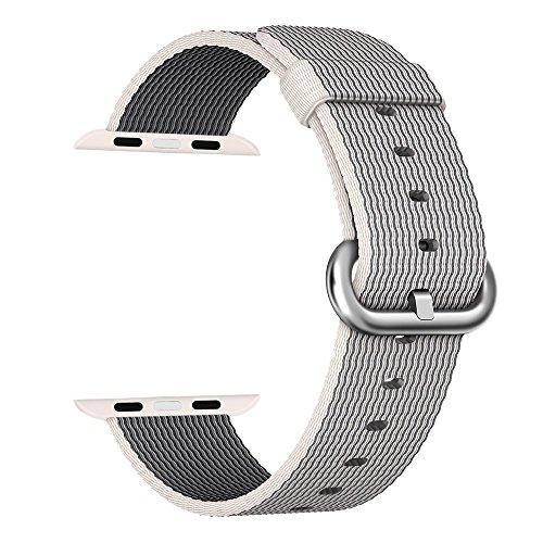 Apple Watch cinturino ,PUGO TOP Woven Nylon Replacement Wrist cinturino Bracelet Strap for Apple Watch/Apple Watch Series 2 (42mm , Perla )