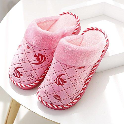 DogHaccd pantofole,Giorno di autunno e inverno paio di pantofole di cotone felpato cartoon-pavimento pulito pantofole home scarpe caldo Rosa4
