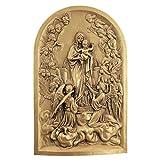 Diseño Toscano–Escultura de Pared de la Virgen María con ángeles, Color Dorado