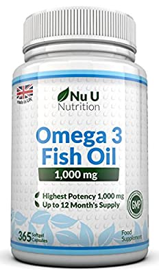 Omega 3 Fish Oil 1000mg 365 Softgels by Nu U Nutrition (1 Year Supply)