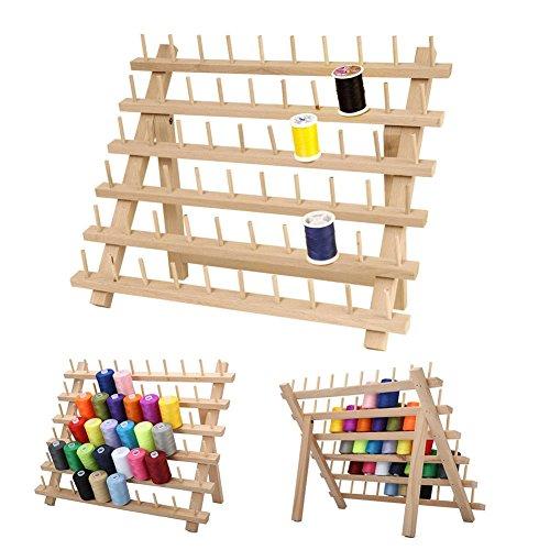 Rikey 40 32 cm 60 Achsen Holzfaden Rack Spool Nähen Organizer, Holzgewinde Schneider Rack Premium Buchenholz Thread Rack Spool Organizer Lagerung Inhaber Gewinde Rack Stand (Thread-inhaber)
