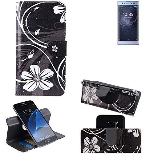 K-S-Trade Schutzhülle Sony Xperia XA2 Ultra Dual-SIM Hülle 360° Wallet Case Schutz Hülle ''Flowers'' Smartphone Flip Cover Flipstyle Tasche Handyhülle schwarz-weiß 1x
