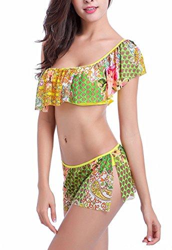 Frauen Soft Cups Tankini Bikini Sets Rüschen Mit Brustpolster One Shoulder Tankini Tops Und Bottoms Zweiteilig Blumendrucken Elastisch S-2Xl Gelb