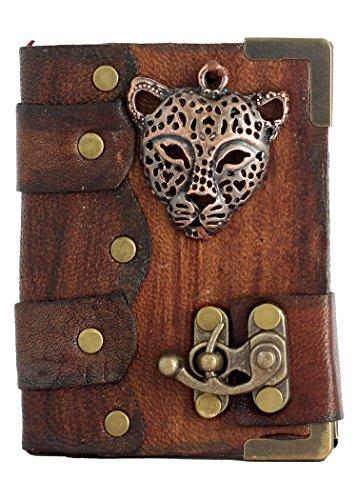 Braun Leder Gebundenem Notizbuch Leopard Gesicht Maske Anhänger Anhänger Tagebuch Notiz Tagebücher Blöcke Hefte Blankobücher Taschenbuch Frauen Männer Mädchen Jungen Kinder