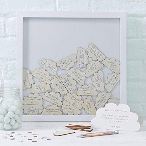 Ginger Ray Hochzeit Taufe Rahmen Gästebuch Glückwünsche Bilderrahmen Wolken Holz