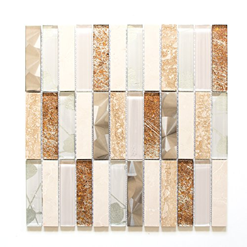 Fliesen Mosaik Mosaikfliese Beige Mix Glänzend Küche Bad WC 8mm Neu #694