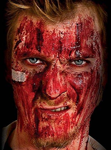 FesteFeiern Halloween Wundschorf Maske Schmink-Set | Kunstblut mit Schwammn | Effekt Deko-Set Halloween Party Theater Horror