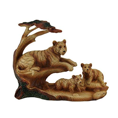 Orgoglio di tigre tiger family in acacia albero finto legno carving statua