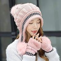 Blueqier Guantes cómodos Orejeras Sombrero de Lana de Punto Mujer Moda de Invierno Marea Salvaje Espesar Guantes cálidos Baotou de Invierno (Color: Beige) Manopla de Invierno (Color : Pink)