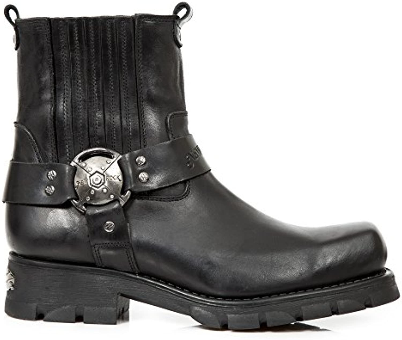 New Rock M.7605 S1 Schwarz Leder Stiefel