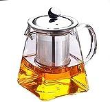 HYY-YY - Set da tè in Vetro con bollitore in Vetro borosilicato Trasparente, 350 ml, Elegante Tazza da tè in Vetro con infusore in Acciaio Inox