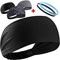 Sport Stirnband,Schweißband,Anti- Rutsch Kopf schweissband,Haarband,3 Stück Breite Stirnbänder, 2 Stück Mini-Stirnbänder,Atmungsaktiv
