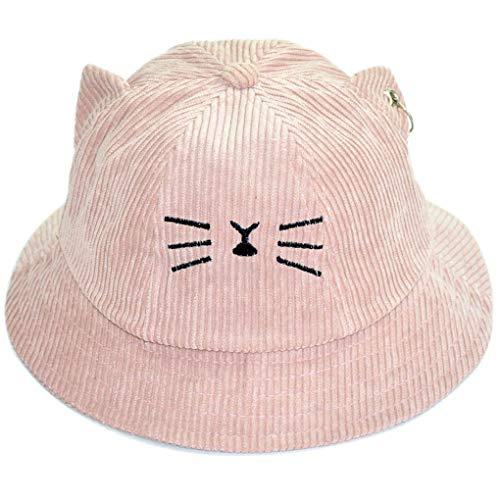 0c57c25a Minzhi Boys Girls Kids Embroidered Basin Hats Corduroy Cat Ear Shaped  Fisherman Caps Solid Color Autumn