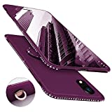 Newseego Compatibile con iPhone XR Case, Custodia per Cellulare con Brillantini con Rotazione a 360 ° Bling Diamond con Strass Anello con paraurti per iPhone XR - Rosso