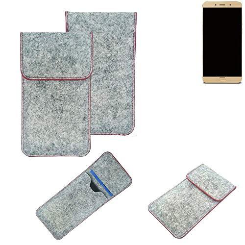 K-S-Trade® Filz Schutz Hülle Für Allview X4 Soul Lite Schutzhülle Filztasche Pouch Tasche Case Sleeve Handyhülle Filzhülle Hellgrau Roter Rand