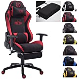 CLP Fauteuil de bureau DRIFT XL racing, revêtement en tissu, capacité de charge jusqu'à 150 kg, fauteuil de chef gaming avec ou sans repose-pied, différentes couleurs au choix noir/rouge, avec repose-pieds