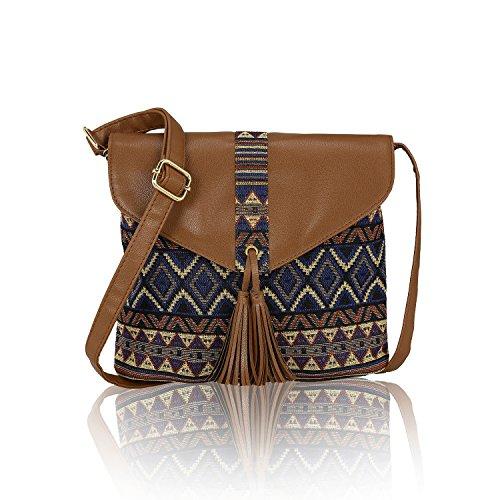 Kleio Women\'s Canvas Sling Bag (Multicolour)