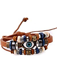 Heartly Fashion Stylish Evil Eye Pattern WristBand Hand Braided Leather Wooden Wrap Bracelet For Men & Women -...
