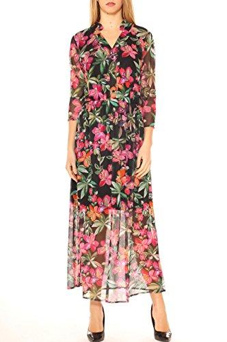 Vestito lungo in tulle fantasia floreale Rosa scuro