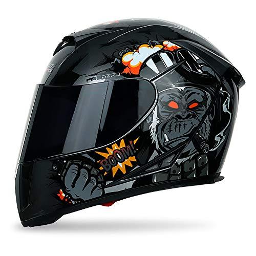 He-art Integralhelm Street Motocycle Racing Atmungsaktive Maske Hautfreundliches Futter Motocross Modular Flip Up Sonnenschutz Winddicht Kopfschutz Ece-zertifiziertes ABS,B,XL