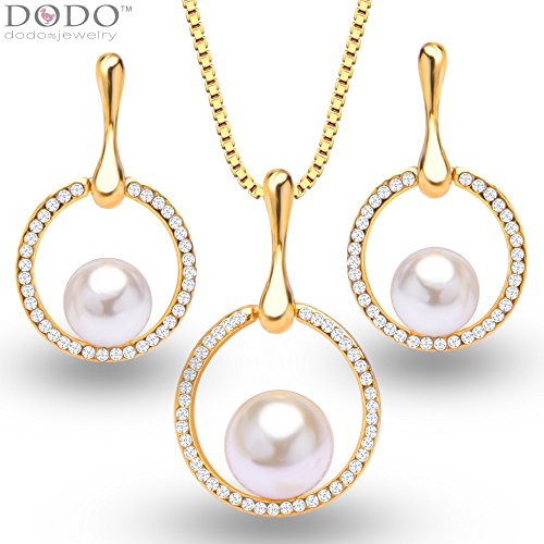 Trendy Design Simulated Pearl 18K Gold Plated Necklace Pendant Earrings Rhinestone Jewelry Set S20080