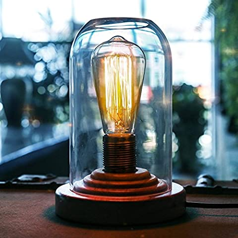 Generic Vintage Edison desk lamps Wood Base And Clear Glass