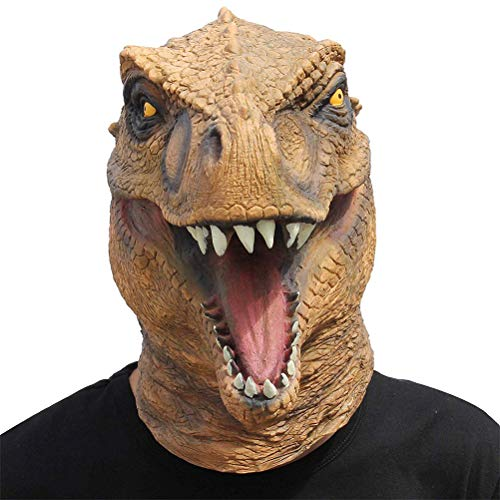 JHSHENGSHI Dinosaurier Maske Latex,Tiermaske Kopf Drachen Kostüm für Halloween Weihnachten Party Dekoration Dino Masken Cosplay Helmet Props