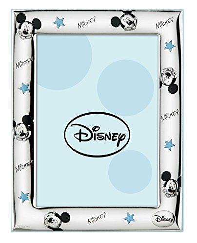 Disney Topolino Mickey Mouse - Cornice Porta Foto da Tavolo in Argento per Neonato e Bambina