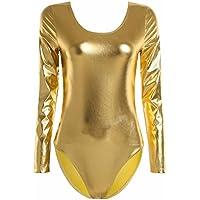 Tiaobug Ballettanzug Damen Langarm Body Ballett Trikot Turnanzug Gymnastikanzug Schwarz/Blau/Silber/Gold
