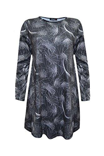 een Swing Kleid bedruckt Kürbis Fledermaus Spinnennetz Trick treat Party Damen Gr. S/M, Black Spider Net Print (Spider Kostüme Für Erwachsene)