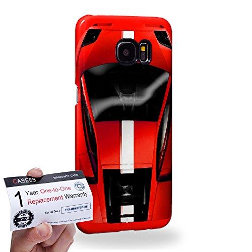 Case88 [Samsung Galaxy S7 Edge] 3D Hülle / Schutzhülle & Garantiekarte - Art Design Red Sport Car