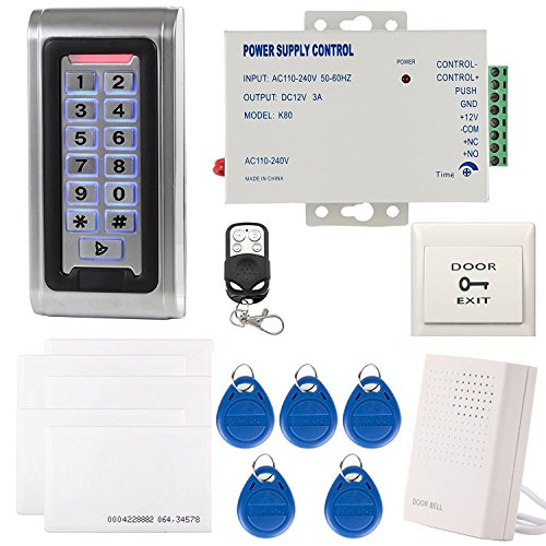 Access Kit (UHPPOTE Metall wasserdichte Tür RFID Leser Access Control Sicherheit System Kit Code Tastatur EM-ID Karte Bell Fernbedienung)