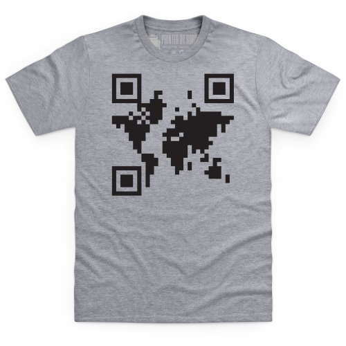 QR Earth T-Shirt, Herren Grau Meliert