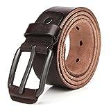 Tekon Cintura classica da uomo in pelle, stile Vintage, con fibbia in lega di alta qualità, 3.8cm di larghezza, regolabile, (105-125 cm) diverse dimensioni disponibili (105, Marrone)