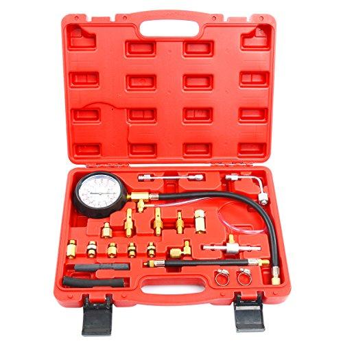 FreeTec Benzindruck-Tester Set Einspritzanlage Benzindruck-Prüfer Set Druckprüfer Auto PKW Krafststoffdruckmesser 0-140PSI