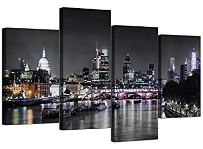 Canvas Wall Art of London Skyline for your Living Room - 4 Panel - Pictures - cheap UK canvas store.