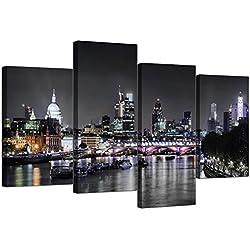 4 toiles pour décoration murale - Photos de la ligne d'horizon de Londres - Pour votre salon