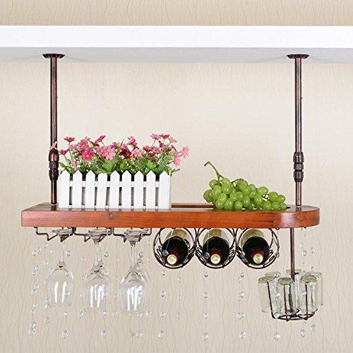 WENGKHF Portavasos de madera vino estantes estante colgante del vidrio de vino rojo vino vidrio estante portabotellas de vino Copas parrillas la barra invertida , long 60cm wide 28cm chestnut color