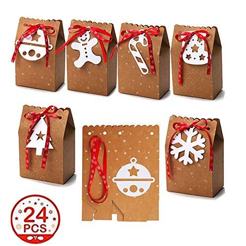 Kingsley 24 cajas de regalo de Navidad Kraft