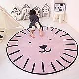 GRENSS Kids serie cartoon tappeto rotondo sedia Computer Tappetino tappeto Home Camera ragazzi giocare i bambini tenda Area Rug soffici tappeti camera da letto,Lion,150cm di diametro