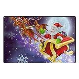 Bennigiry Santa Weihnachten Bereich Teppich Teppich Rutschfeste Eintrag Bodenmatte Fußmatten für Wohnzimmer Schlafzimmer 152,4 x 469 cm