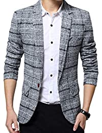 Juleya Giacca da Uomo Blazer Casuale Formale Giacca Slim da Uomo Retro One  Button Elegante Vestito ac595710618